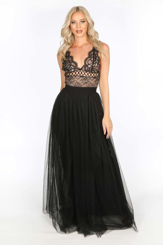 Full Length Maxi Tulle Skirt In Black