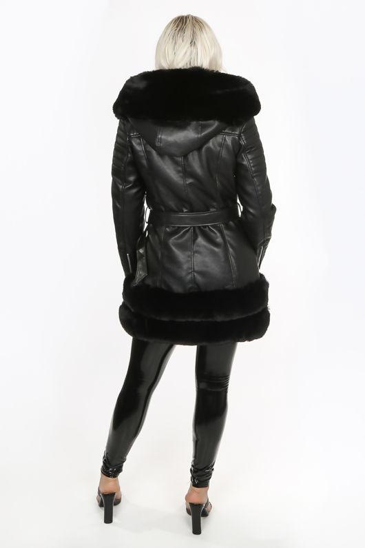 Black PU Faux Fur Belted Jacket