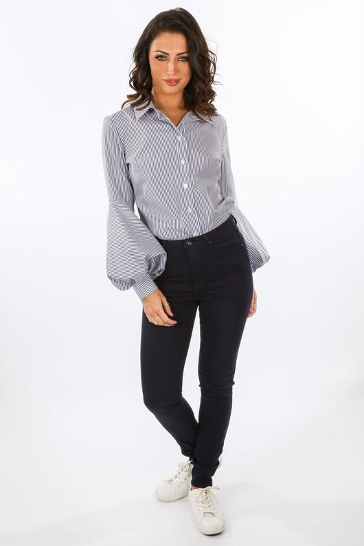 f/018/GCB2458-_Striped_Shirt_With_Puff_Sleeve_Detail_In_Dark_Blue__78902.jpg