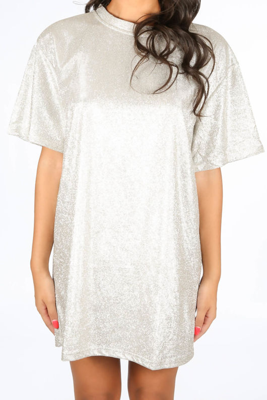 Gold Glittery T-Shirt Dress