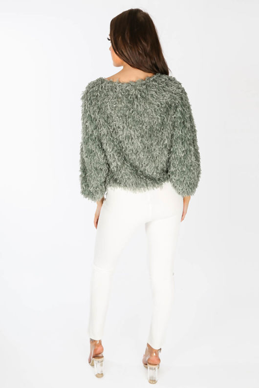 Feather Look Round Neck Top In Green