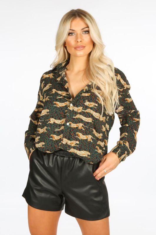 Green Cheetah Print Blouse