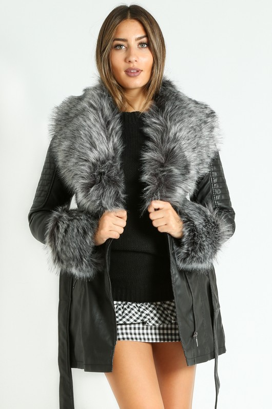 r/791/Grey_Faux_Fur_Collar_Belted_Biker_Coat_In_Black__18386.jpg