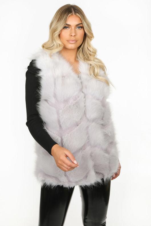 Light Grey Soft Faux Fur Gilet
