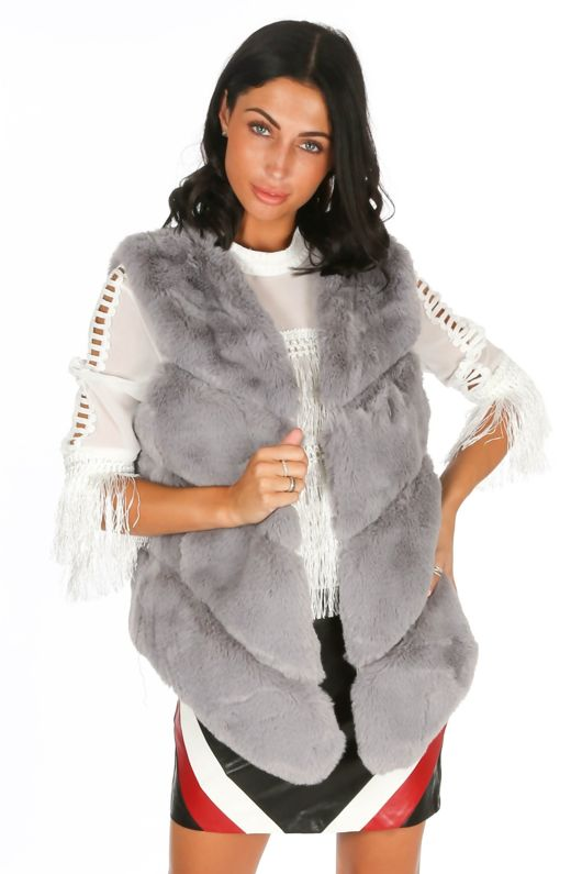 Grey Luxury Faux Fur Gilet