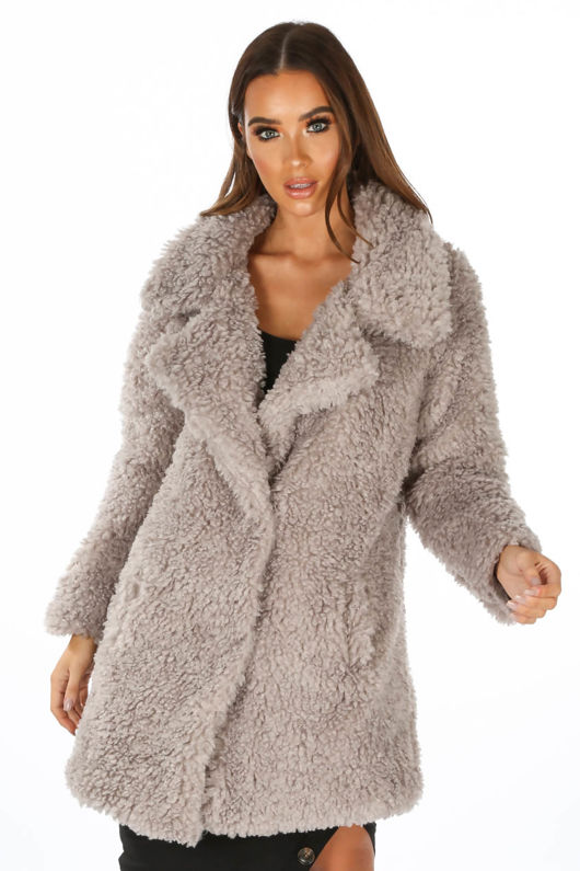 Grey Super Soft Borg Coat