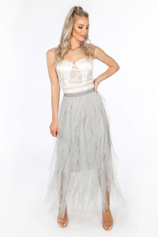 Grey Ruffle Draped Midi Tulle Skirt