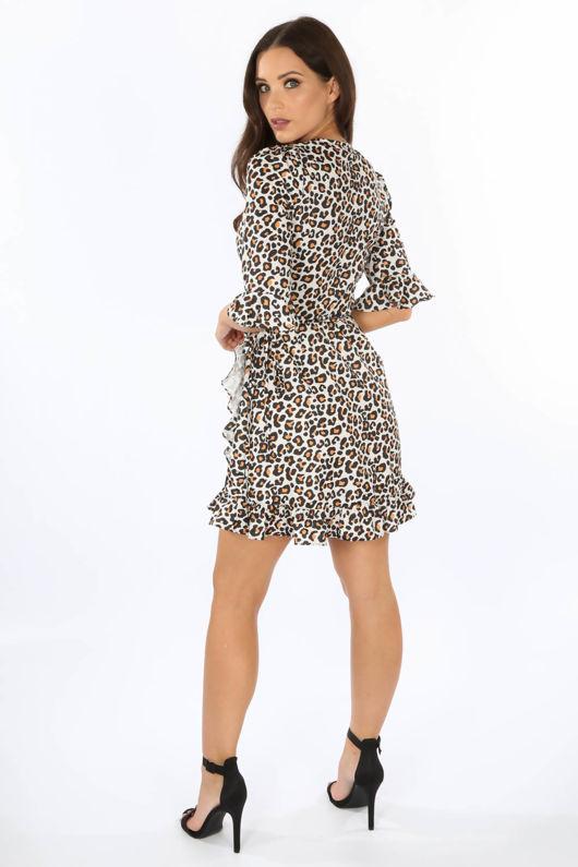 Leopard Print Frill Wrap Dress