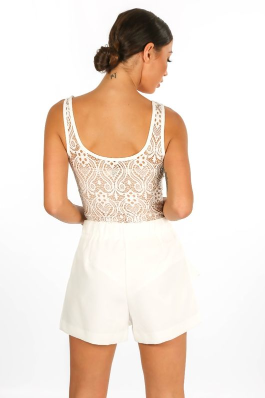 White Lace Up Contrast Lace Bodysuit