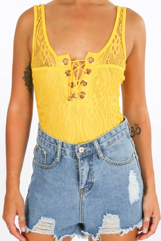 Yellow Lace Up Contrast Lace Bodysuit