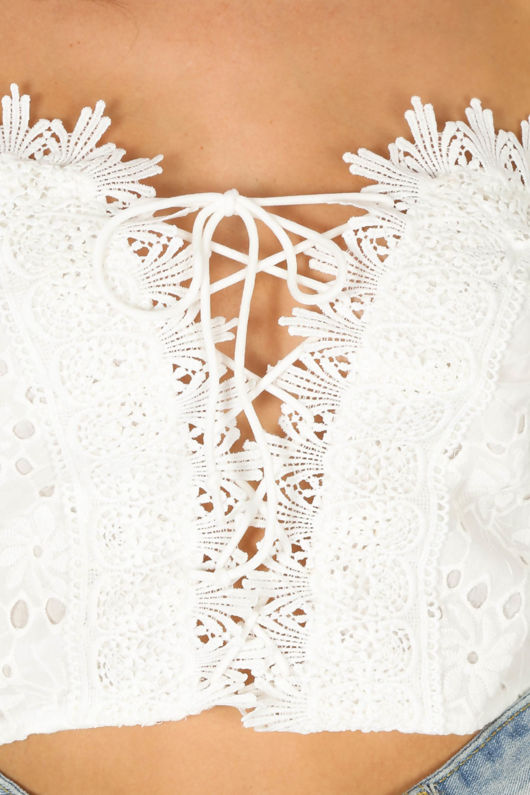 White Embroidery Anglaise Off The Shoulder Lace Up Crop Top