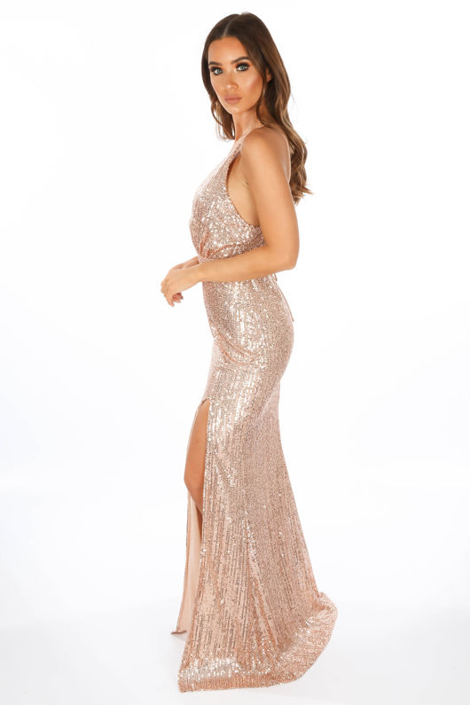 Rose Gold Strappy Back Sequin Maxi Dress
