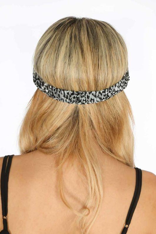 Crinkle Headband in Grey Leopard Print