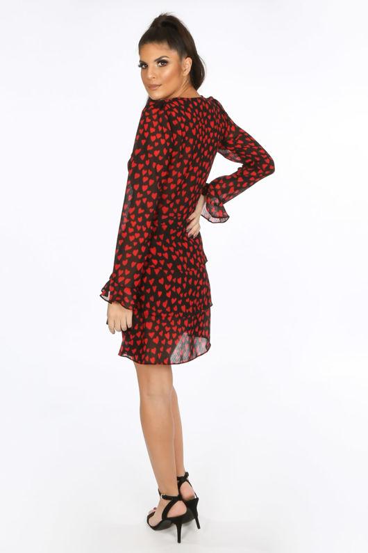 Heart Print Frill Wrap Look Dress