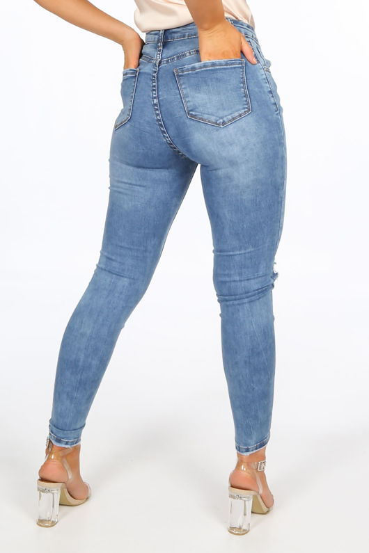 High Waisted Mid Wash Ripped Skinny Jeans