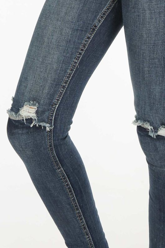 High Waisted Dark Blue Ripped Knee Jeans