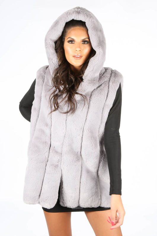 Grey Luxe Faux Fur Hooded Gilet