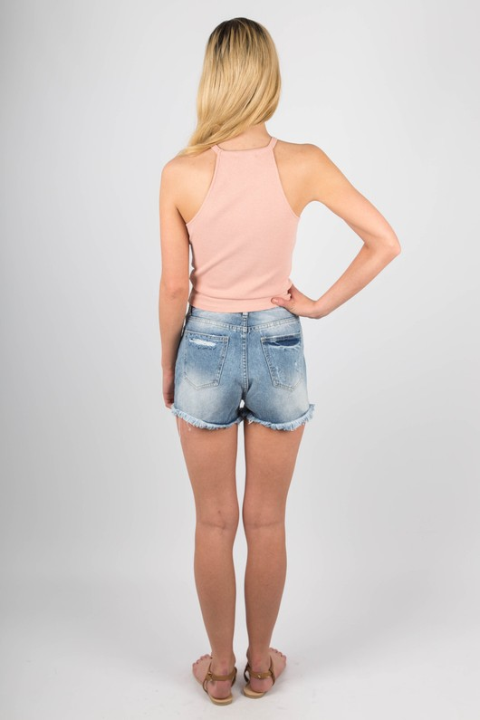 abeaf95556810d 90 s Neck Ribbed Jersey Crop Top In Blush Pink