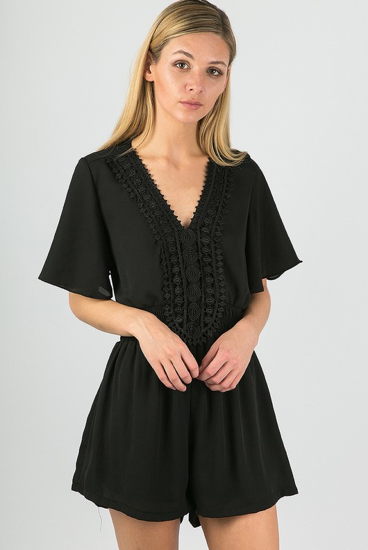 f19367c4e7 Crochet Trim Short Sleeve Summer Playsuit Black