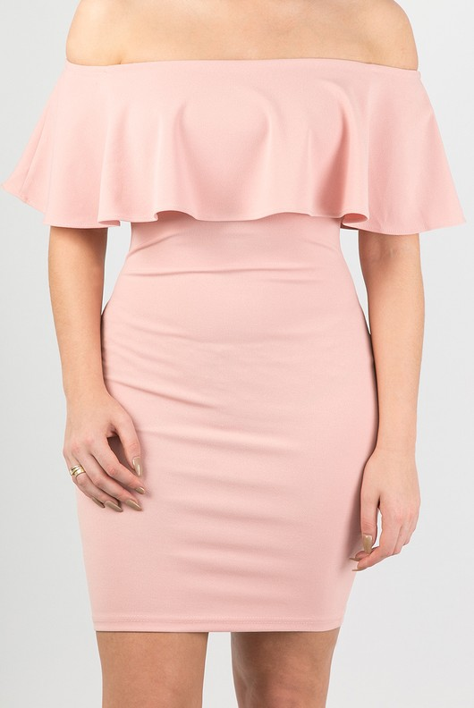 dc1b1ee2a859 Off The Shoulder Frill Bodycon Dress In Pink