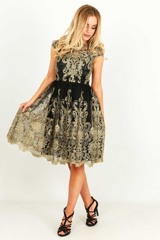e34d175852b4 Gold Brocade Lace Dress In Black