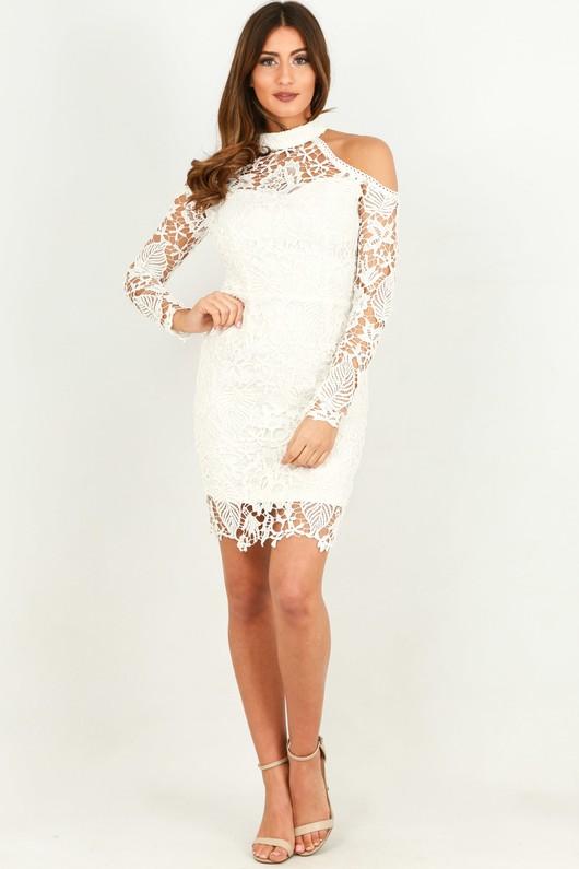 Cold Shoulder Long Sleeve Crochet Dress In White