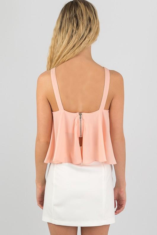 7178acd71209b5 Lace Up Ruffle Chiffon Crop Top In Pink