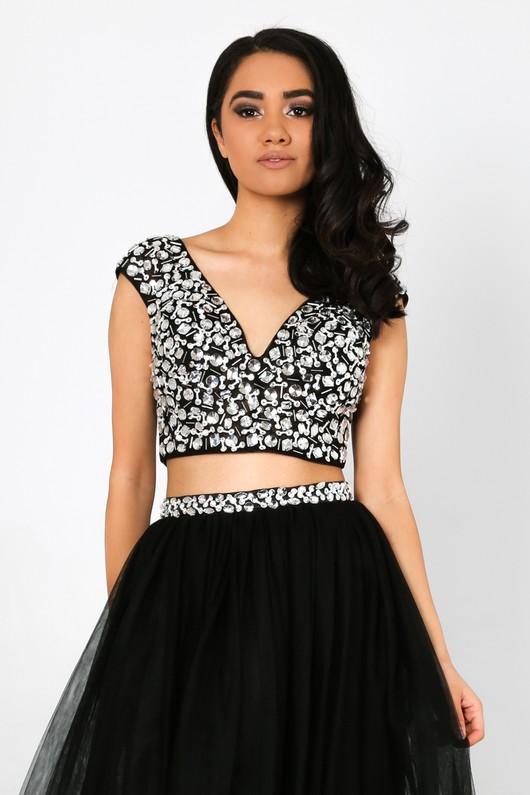 4770e6b4c7bee6 Jewel Embellished Cropped Top In Black