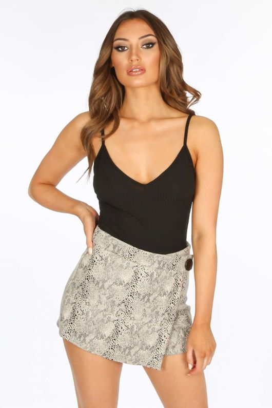 Black Ribbed Jersey Bodysuit With Lace Trim