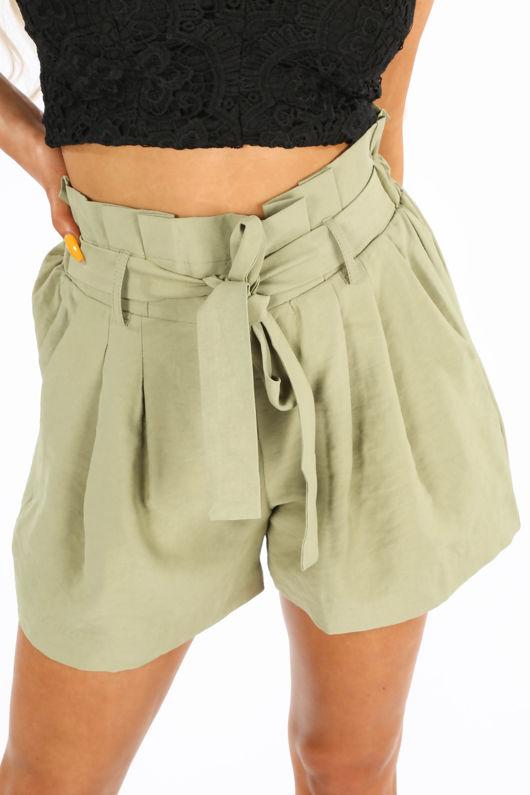 Khaki Belted Paper Bag Shorts
