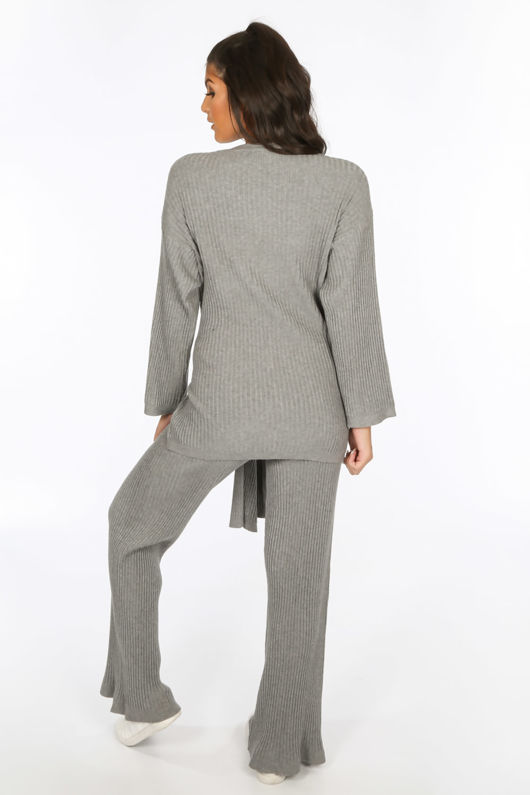 Grey Soft Knit Loungewear Set