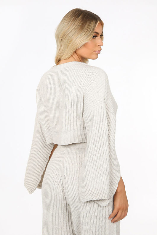 Beige Knitted Over-Sized Co-ord