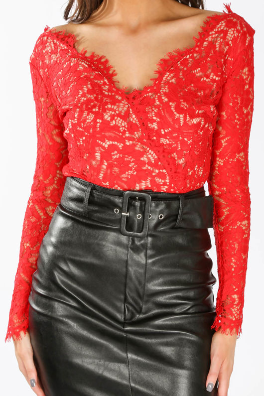 Red V Neck Contrast Lace Long Sleeve Bodysuit