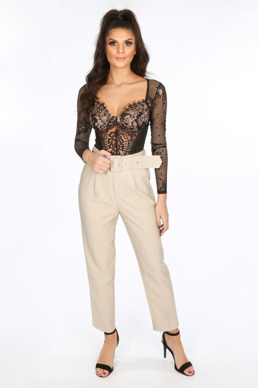 Black Long Sleeve Contrast Eyelash Lace Bodysuit