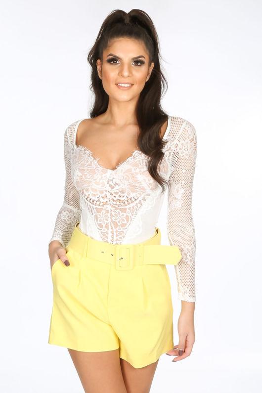 White Long Sleeve Contrast Eyelash Lace Bodysuit