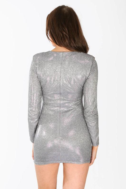 Long Sleeve Metallic Bodycon Dress In Blue