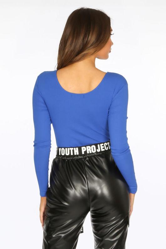 Cobalt Blue Long Sleeve Jersey Plunge Bodysuit