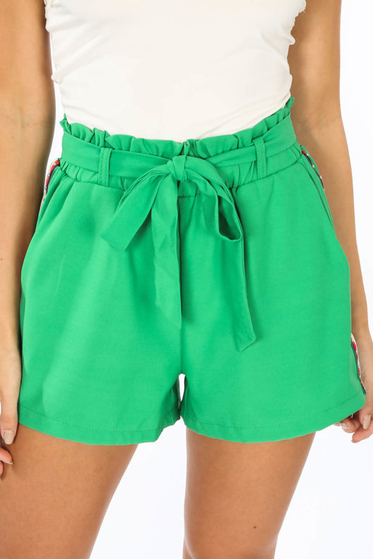 Green Side Stripe Paper Bag Shorts