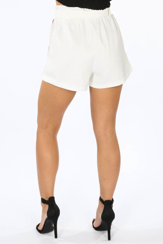 White Side Stripe Paper Bag Shorts