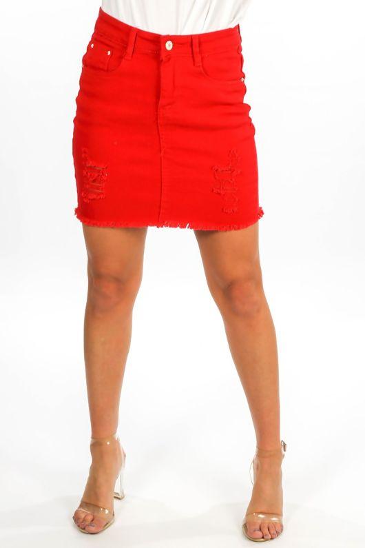 Red Distressed Denim Mini Skirt