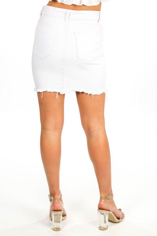 White Distressed Denim Mini Skirt