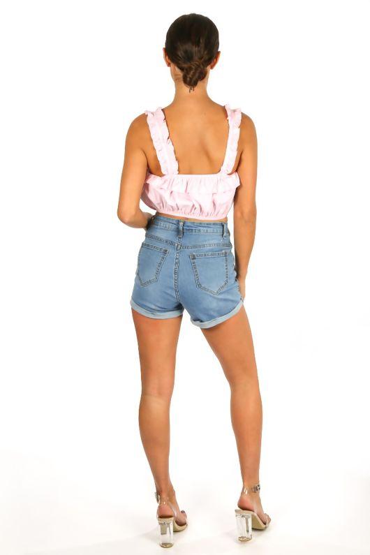 Flamingo Embroidered Denim Blue Shorts