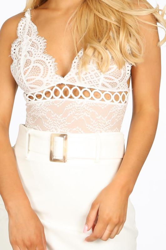 White Sheer Lace Embroidered Bodysuit