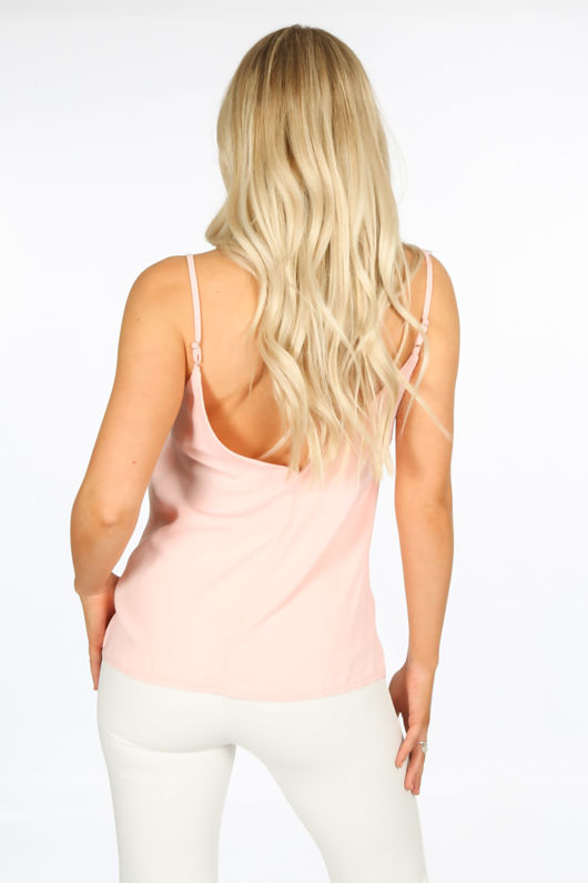 Pink Cami With Deep Lace Insert