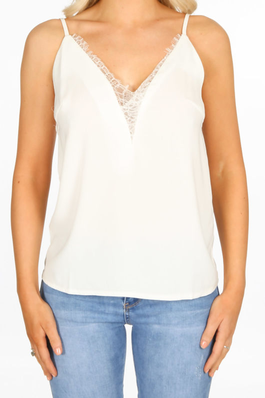 White Cami With Deep Lace Insert