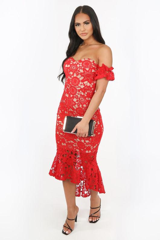 Red Crochet Bardot Fish Tail Midi Dress