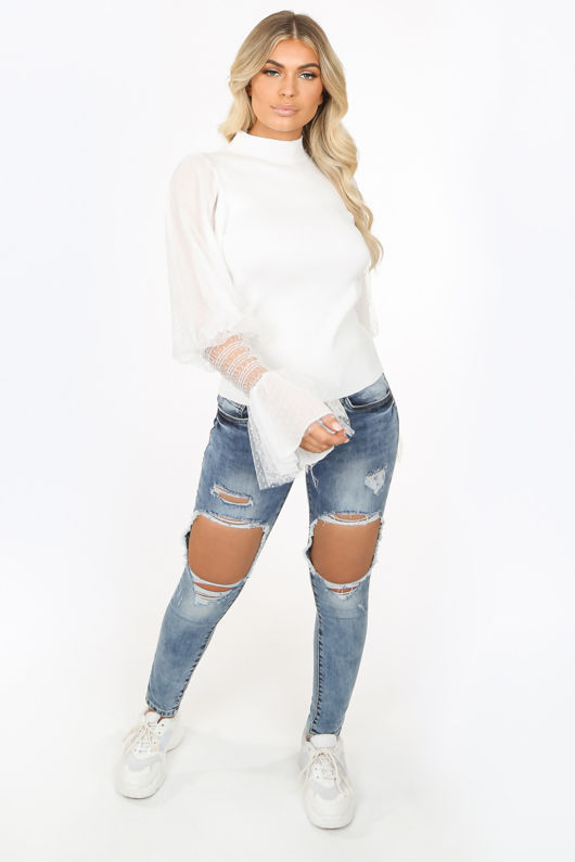 White Lace Cuff Jumper