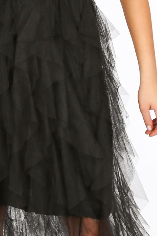 Black Ruffle Draped Midi Tulle Skirt