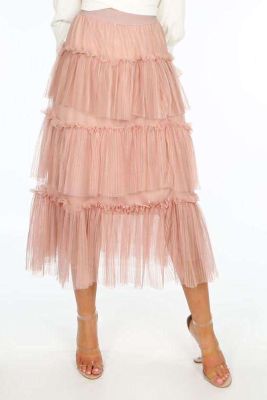Pink Layered Tulle Midi Skirt