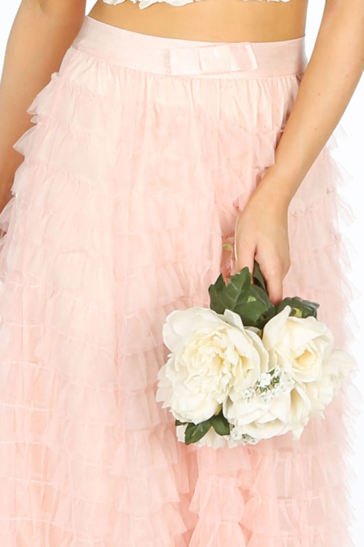 Bridal Maxi Layered Tulle Skirt In Pink